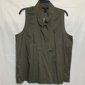 Sleeveless Olive Green Pin Tuck Bib Blouse